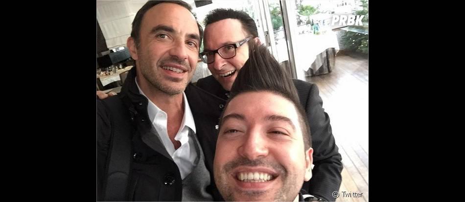 Nikos Aliagas, Jean-Marc Généreux et Chris Marques avant la cérémonie des NMA 2014 sur TF1, le 13 décembre 2014