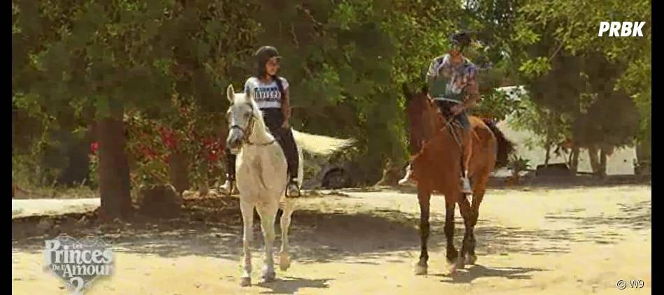 Les Princes de l'amour 2 : balade à cheval pour Siham Bengoua et Samir Benzema dans l'épisode 53 du 21 janvier 2015, sur W9
