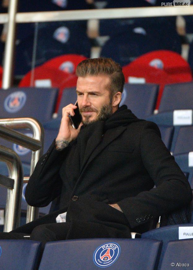 David Beckham dans les tribunes du Parc des Princes pour le match PSG-Chelsea, le 17 février 2015