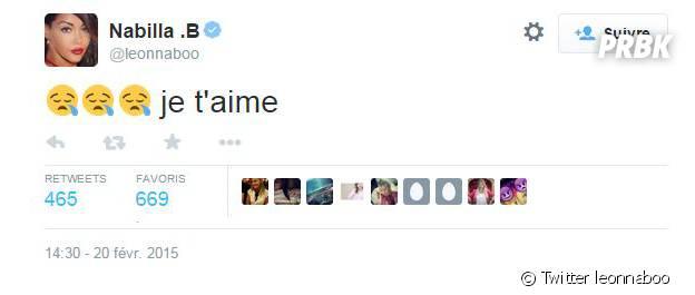 "Le ""Je t'aime"" tweeté par Nabilla Benattia"