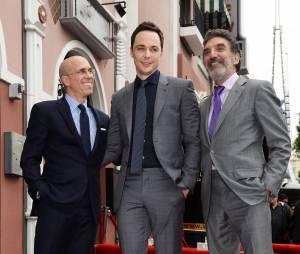 Jim Parsons (Big Bang Theory), Jeffrey Katzenberg et Chuck Lorre : l'acteur inaugure son étoile sur le Walk of Fame d'Hollywood Boulevard, le 11 mars 2015