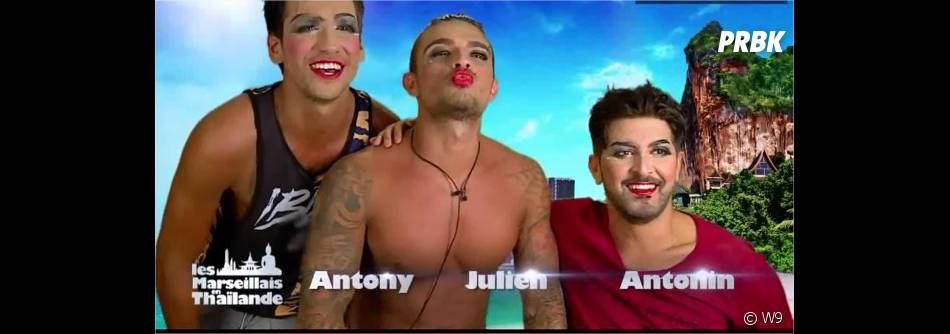 Antony, Julien et Antonin en lady boys dans Les Marseillais en Thaïlande, dans l'épisode n°28 du 7 avril 2015 sur W9