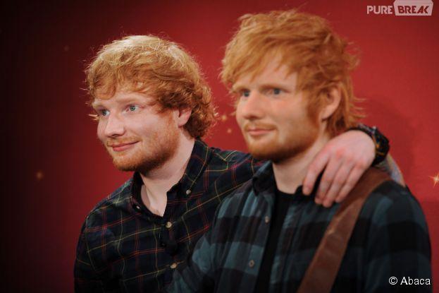 Ed Sheeran présente sa statue de cire à New York le 28 mai 2015