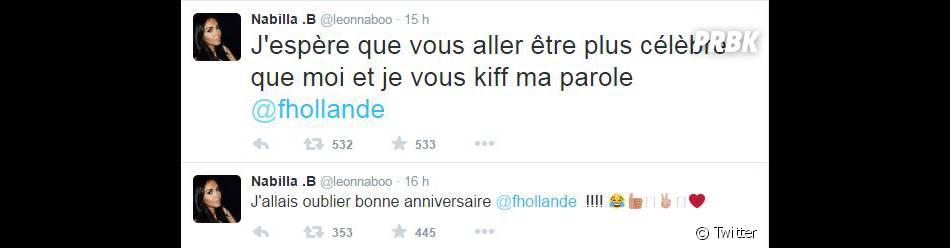 Nabilla Benattia s'adresse à François Hollande sur Twitter, le 12 août 2015