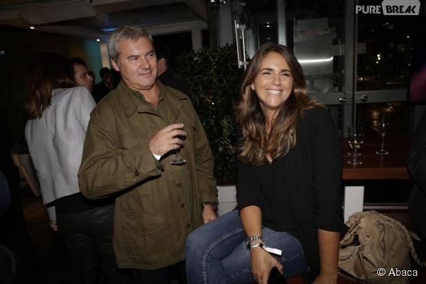 Valérie Benaïm et Patoche à la soirée Samsung, le 15 septembre 2015, à la piscine Molitor, à Paris