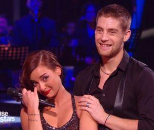 Priscilla Betti en larmes dans Danse avec les stars 6 après son tango avec Yann-Alrick Mortreuil, le 5 décembre 2015 sur TF1