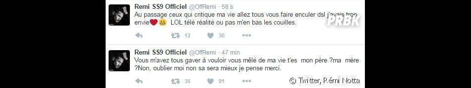 Rémi Notta (Secret Story 9) : son gros coup de gueule sur Twitter le 3 janvier 2016