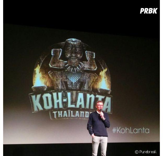 Koh Lanta 2016 : Denis Brogniart lors de la conférence de presse du 7 janvier 2016