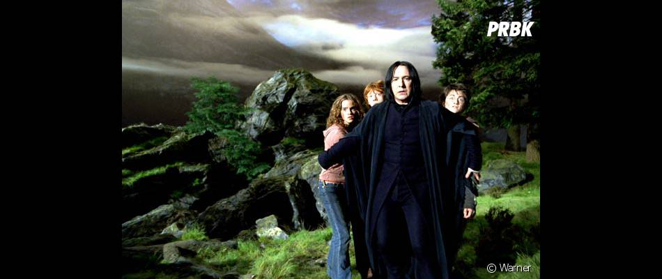 Alan Rickman avec Daniel Radcliffe, Emma Watson et Rupert Grint dans Harry Potter et le Prisonnier d'Azkaban