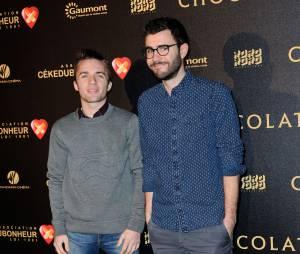 Squeezie et Cyprien à l'avant-première du film Chocolat en faveur de l'association CéKeDuBonheur, le 1er février 2016 à Paris