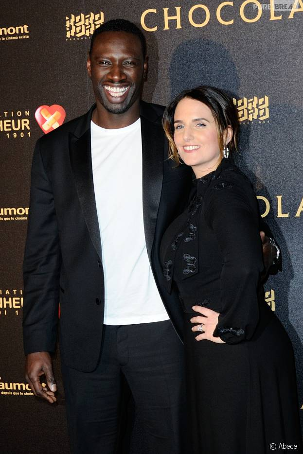 Omar Sy et sa femme Hélène Sy à l'avant-première du film Chocolat en faveur de l'association CéKeDuBonheur, le 1er février 2016 à Paris