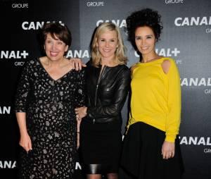 Roselyne Bachelot, Laurence Ferrari et Aida Touihri à la soirée du groupe Canal+, D8, D17 et iTélé à Paris, le 3 février 2016