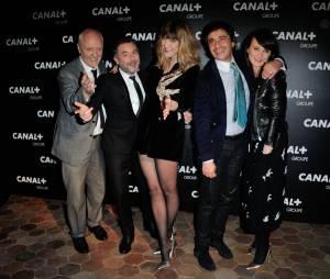 Daphné Bürki et l'équipe de La Nouvelle Edition à la soirée du groupe Canal+, D8, D17 et iTélé à Paris, le 3 février 2016