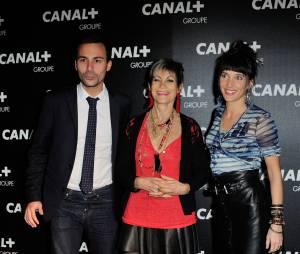 Bertrand Chameroy, Isabelle Morini-Bosc et Erika Moulet à la soirée du groupe Canal+, D8, D17 et iTélé à Paris, le 3 février 2016