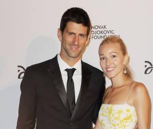 Novak Djokovic et sa femme Jelena Ristic lors d'une soirée