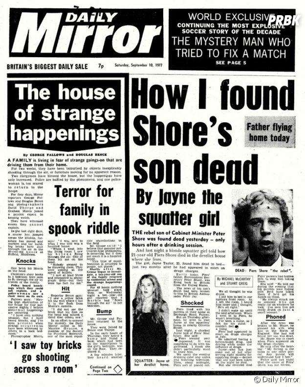 Le cas Enfield en couverture du Daily Mirror en 1977