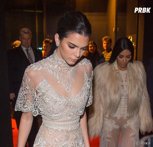 Kim Kardashian et Kendall Jenner sur le tournage de Ocean's Eight le 16 janvier 2017