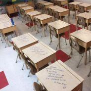 Une prof écrit des messages adorables sur les tables de ses élèves pour les encourager avant un exam