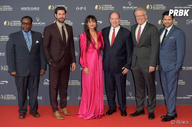 Les stars de la série Jack Ryan et le Prince Albert à la cérémonie d'ouverture du Festival de télévision de Monte Carlo 2018