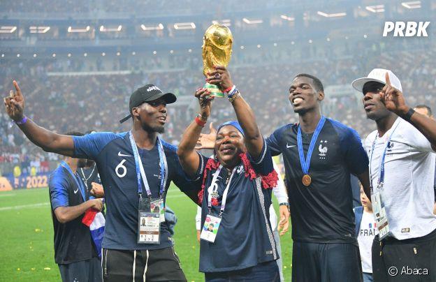 Paul Pogba et ses proches fêtent la victoire des Bleus lors de la Coupe du Monde 2018 le 15 juillet à Moscou