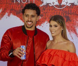 Marquinhos et sa femme à l'anniversaire de Neymar à Paris.