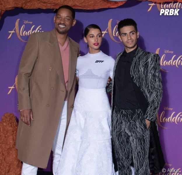 Aladdin : Will Smith, Mena Massoud et Naomi Scott lors de l'avant-première du film à Paris le 8 mai 2019