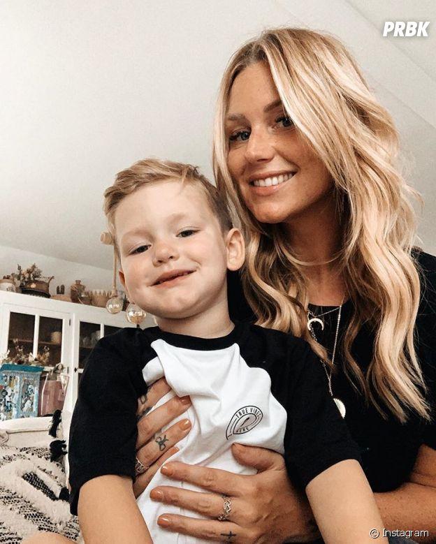 Aurélie Van Daelen avec son fils Pharell