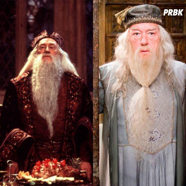 Harry Potter : Richard Harris à gauche et Michael Gambon à droite