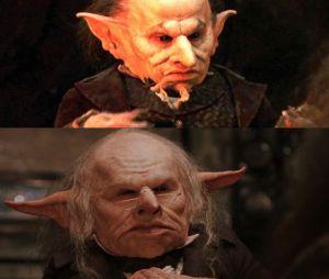 Harry Potter : Verne Troyer en haut et Warwick Davis en bas