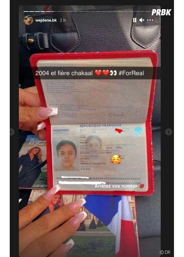 Wejdene répond à la rumeur sur son âge en postant la photo de son vrai passerport sur Instagram Stories