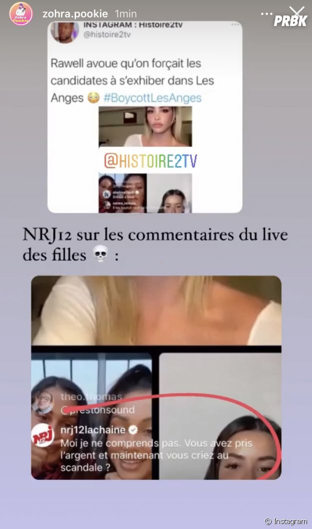Les Vacances des Anges 4 : le (faux) message de NRJ 12 lors du live Instagram d'Angèle, Céline, Rawell, Rania et Sarah