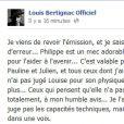 Le message de Louis Bertignac sur Facebook posté mardi 10 avril 2012