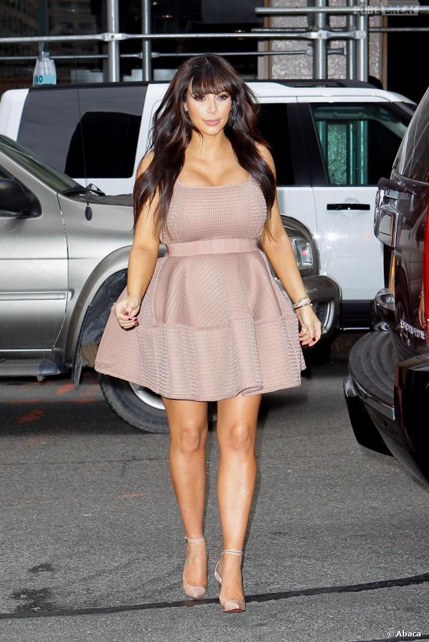 Kim Kardashian au cinquième mois de grossesse, à New-York le 26 mars 2013