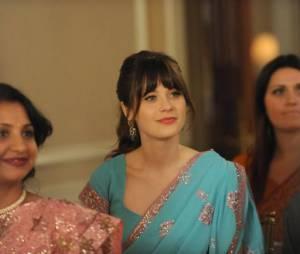 Jess sublime dans une robe hindoue dans New Girl