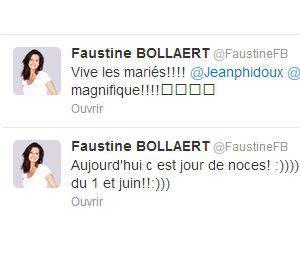 Faustine Bollaert était présente au mariage de Jean-Philippe Doux et de Solène Chavanne