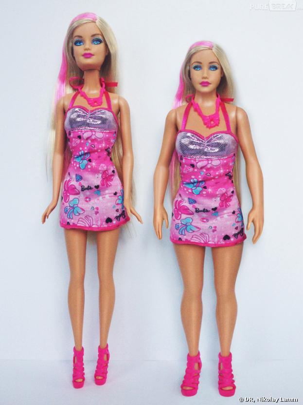 Barbie avec des mensurations humaines à côté d'une Barbie traditionnelle