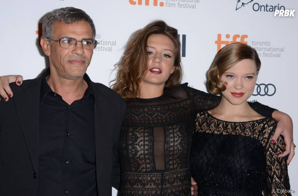 Léa Seydoux, Abdellatif Kechiche et Adèle Exarchopoulos à Beverly Hills pour la promotion du film La Vie d'Adèle