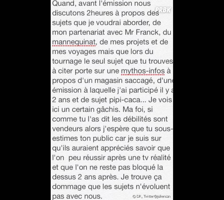 Secret Story 6 : message de Julien adressé à Nicolas Touderte du Mag suite à leur passage dans l'émission.
