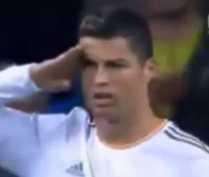 Cristiano Ronaldo : clin d'oeil à Sepp Blatter, le 30 octobre 2013 à Madrid