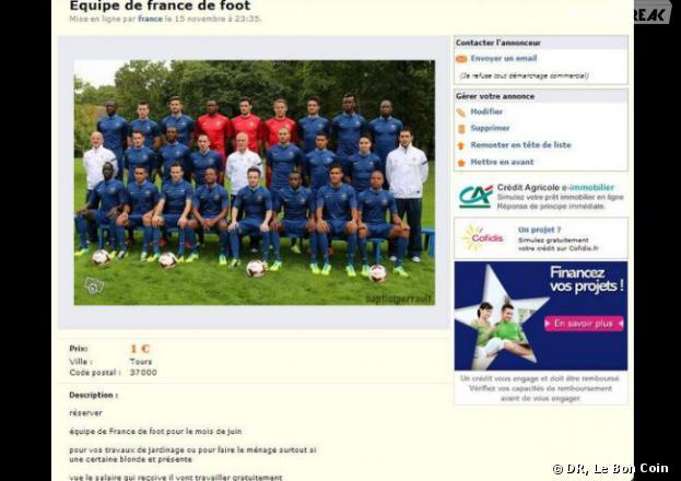 L'équipe de France de football bradée à un euro sur Le Bon Coin