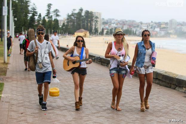 Les Anges de la télé-réalité 6 : Eddy, Dania, Amélie Neten et Anaïs Camizuli en tournage à Sydney, le 20 janvier 2014