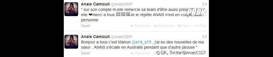 Anaïs Camizuli : sa soeur donne de ses nouvelles sur Twitter et dément son rapprochement avec Thibault dans les Anges 6