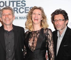 """Alexandra Lamy entourée de Jacques Gamblin et Nils Tavernier à l'avant-première de """"De toutes nos forces"""", le 17 mars 2014 à Paris"""