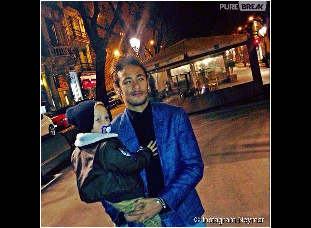 Neymar et son fils Davi Lucca sur Instagram, le 19 mars 2014