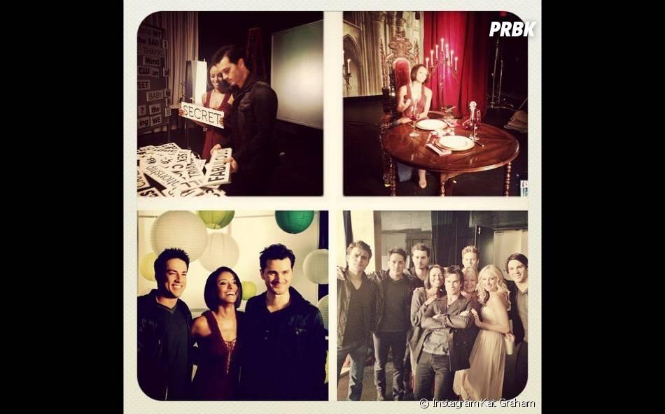 Kat Graham, Michael Malarkey et Michael Trevino lors d'une séance photo pour la saison 6 de Vampire Diaries