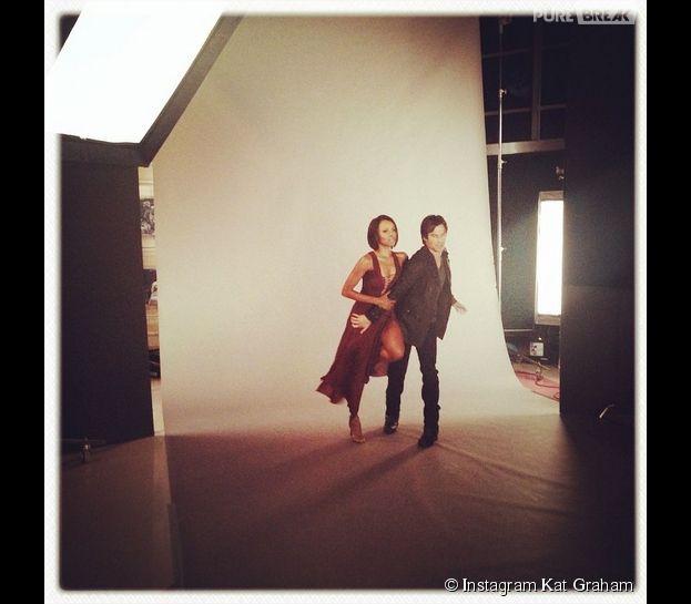 Ian Somerhalder et Kat Graham proches lors d'une séance photo pour la saison 6 de Vampire Diaries