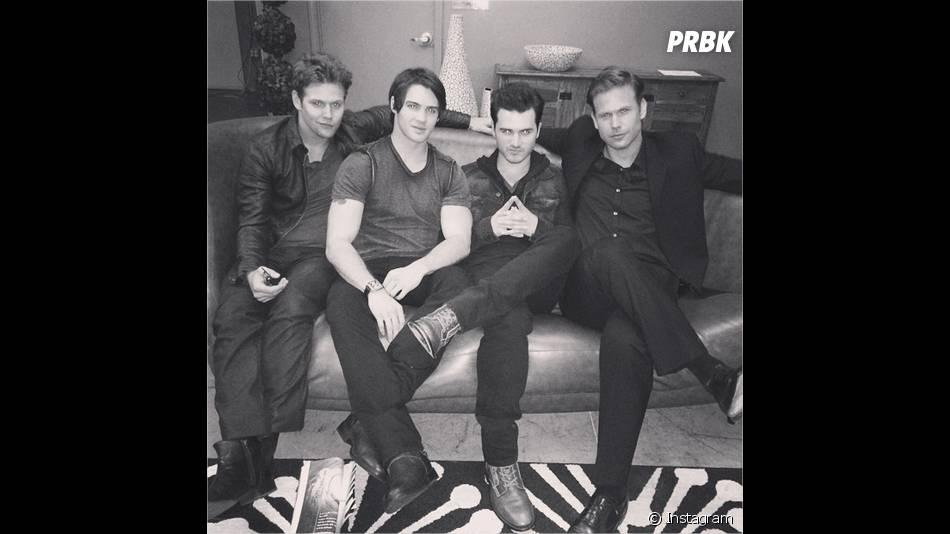 Zach Roerig, Steven R. McQueen, Michael Malarkey et Matt Davis lors d'une séance photo pour la saison 6 de Vampire Diaries