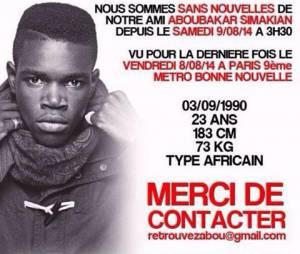 Abou du collectif L'Entourage a disparu le 9 août 2014, à Paris