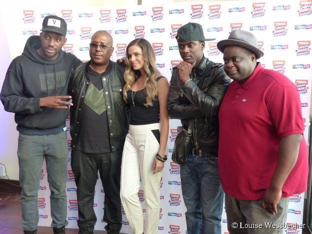 The Shin Sekaï, Jacky Brown (Neg Marrons), Clara Morgane, Black M et Issa Doumbia lors de la conférence de presse de Trace Urban Music Awards 2014 au Casino de Paris, le 23 septembre 2014