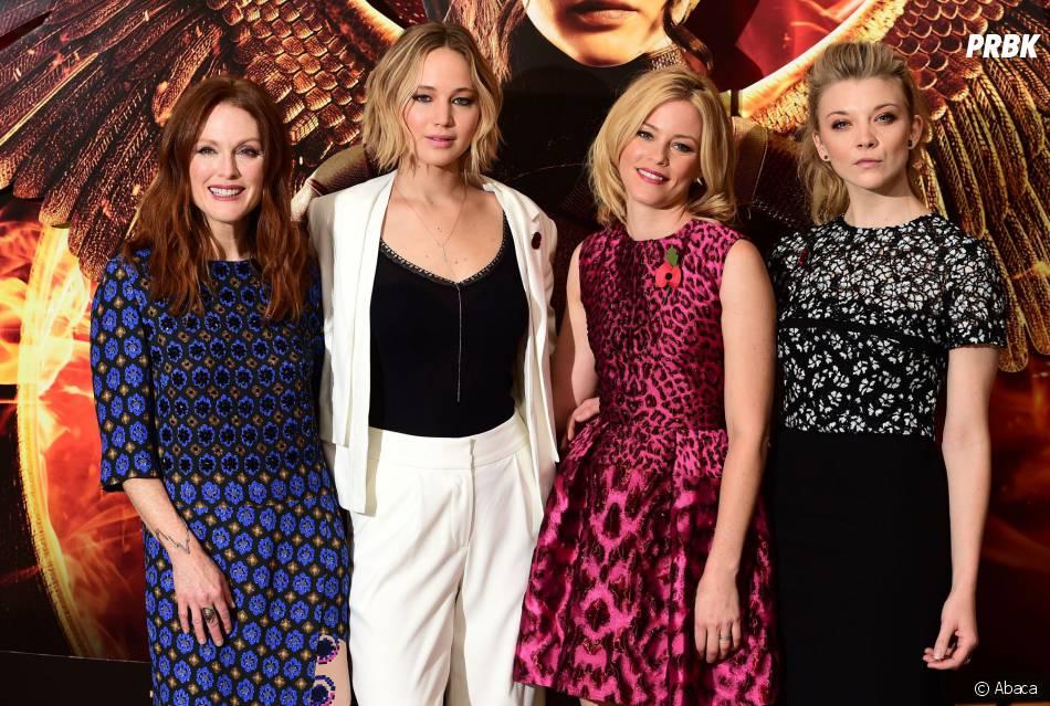 Hunger Games 3 : l'équipe du film ( Jennifer Lawrence,   Elizabeth Banks,   Julianne Moore   et Natalie Dormer à Londres) le 9 novembre 2014